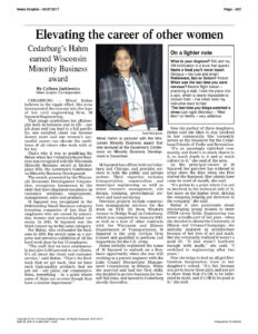 Cedarburg's Hahm Earned Wisconsin Minority Business Award. News Article in the News Graphic on April 27, 2017.
